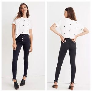 """MADEWELL 9"""" High Rise Button Fly Raw Hem Jeans 30"""
